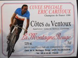 """ETIQUETTE De VIN - """" CÔTES Du VENTOUX """" - Cuvée Spéciale Eric CARITOUX  - Appel. Contrôlée 12,5° - 75cl - Parf. Etat - Ciclismo"""