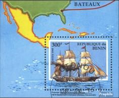Bénin Bloc 9 (complète.Edition.) Oblitéré 1995 Navires - Benin (1892-1894)