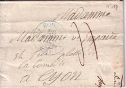 DROME - ROMANS - T12 EN BLEU DU 26-8-1834 - INDICE 10 COTE 65€. - Marcophilie (Lettres)