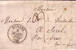DROME - ROMANS - T13  LE 2 MARS 1847 - AVEC TEXTE. - Marcophilie (Lettres)