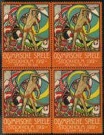 1912, Dekorative Vignette Im Postfrischen Viererblock