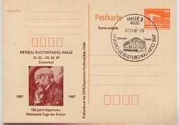HÄNDELHAUS HALLE Auf DDR P86I-2-87 C4 Zudruck 100 J. ESPERANTO ZAMENHOF   1987 - Music