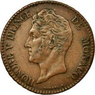 Monnaie, Monaco, Honore V, 5 Centimes, Cinq, 1837, Monaco, TTB, Cuivre, KM:95.2a - Monaco