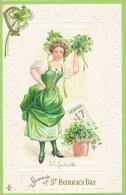 Souvenir Od ST. PATRICK'S DAY - Pretty Irish Girl Holding A Bouquet Of Clover. By SLC 1911, Series 209 C - Saint-Patrick's Day