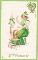 Souvenir Od ST. PATRICK'S DAY - Pretty Irish Girl At Spinning Wheel. By SLC 1911, Series 209 B - Saint-Patrick's Day