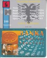 ALBANIA - Telecom Shqiptar 100 Units(reverse BKT Bank), Tirage 20000, 07/96, Used - Albanie