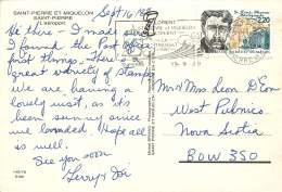 1988  Carte Postale Pour Le Canada  ( Aéroport De St-Pierre)  Dr Louis Thomas Yv 488 - Lettres & Documents