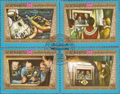 Yemen (UK) 801-804 (complete Issue) Fine Used / Cancelled 1969 Apollo 11 - Yemen