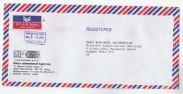 2001 Air Mail INDIA COVER Illus RHINOCEROS ADVERT Rhino International To GB Meter Stamps - Rhinozerosse