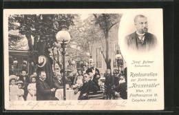 """AK Wien, Gasthaus Zur Kohlkreunze """"Kraxensäle"""" V. J. Bulmer Mit Gartenlokal, Fünfhausgasse 16, Porträt - Wien"""