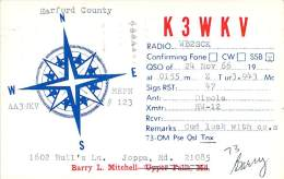 Amateur Radio QSL Card - K3WKV - Joppa, MD -USA- 1966 - 2 Scans - Radio Amateur