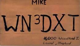 Amateur Radio QSL Card - WN3DXT - Laurel, MD -USA- 1965 - 2 Scans - Radio Amateur