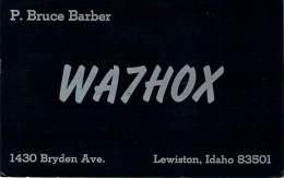 Amateur Radio QSL Card - WA7HOX - Lewiston, ID -USA- 1968 - 2 Scans - Radio Amateur