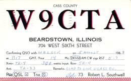 Amateur Radio QSL Card - W9CTA - Beardstown, IL -USA- 1967 - 2 Scans - Radio Amateur