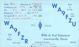 Amateur Radio QSL - WA9FZR & WA9FZU Father & Son - Lawrenceville, IL - 1967 - 2 Scans - Radio Amateur