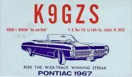 Amateur Radio QSL - K9GZS - Leland, IL -USA- 1967 - 2 Scans - Radio Amateur