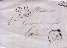 DROME - LIVRON - 25 LIVRON CURSIVE - TAXE 25 DOUBLE TRAIT - 7 JUILLET 1853 - AVEC TEXTE. - Marcophilie (Lettres)