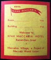 HOTEL MOTEL PENSION RESIDENCE HOUSE KFAR MACCABIA TEL AVIV ISRAEL STICKER DECAL LUGGAGE LABEL ETIQUETTE AUFKLEBER - Hotel Labels