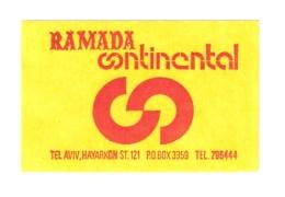 HOTEL PENSION MINI RAMADA CONTINENTAL TEL AVIV VINTAGE OLD ISRAEL STICKER DECAL LUGGAGE LABEL ETIQUETTE AUFKLEBER - Hotel Labels