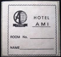 HOTEL MOTEL PENSION MINI AMI TEL AVIV VINTAGE OLD ISRAEL TAG STICKER DECAL LUGGAGE LABEL ETIQUETTE AUFKLEBER - Hotel Labels