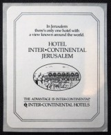 HOTEL MOTEL PENSION MINI INTERCONTINENT JERUSALEM VINTAGE OLD ISRAEL TAG STICKER DECAL LUGGAGE LABEL ETIQUETTE AUFKLEBER - Hotel Labels