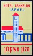 HOTEL MOTEL PENSION MINI ASHKELON JERUSALEM VINTAGE OLD ISRAEL TAG STICKER DECAL LUGGAGE LABEL ETIQUETTE AUFKLEBER - Hotel Labels