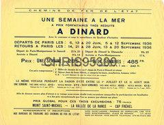 HORAIRES TRAINS ETE 1936 - DINARD 35 ILE ET VILAINE - PARIS MONTPARNASSE - Europe