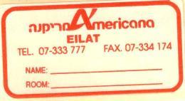 HOTEL MOTEL MINI AMERICANA EILAT ELAT VINTAGE OLD ISRAEL TAG STICKER DECAL LUGGAGE LABEL ETIQUETTE AUFKLEBER - Hotel Labels