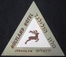 HOTEL MOTEL HOLYLAND HOLY LAND JERUSALEM JORDAN VINTAGE OLD ISRAEL TAG STICKER DECAL LUGGAGE LABEL ETIQUETTE AUFKLEBER - Hotel Labels