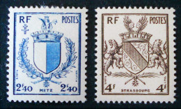 ARMOIRIES DE METZ ET DE STRASBOURG 1945 - NEUF */** - YT 734/35 - MI 707/08 - France