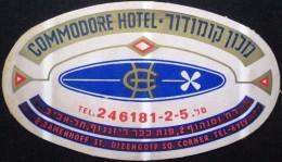 HOTEL MOTEL COMMODORE TEL AVIV VINTAGE OLD ISRAEL TAG STICKER DECAL LUGGAGE LABEL ETIQUETTE AUFKLEBER - Hotel Labels