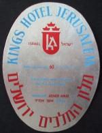 HOTEL MOTEL KING PRIMA JERUSALEM TEL AVIV VINTAGE OLD ISRAEL TAG STICKER DECAL LUGGAGE LABEL ETIQUETTE AUFKLEBER - Hotel Labels