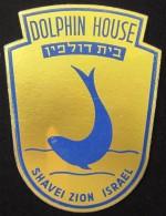 HOTEL DOLPHIN SHAVEI ZION NAHARYA VINTAGE OLD PALESTINE ISRAEL TAG STICKER DECAL LUGGAGE LABEL ETIQUETTE AUFKLEBER - Hotel Labels