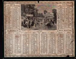 CALENDRIER GRAND FORMAT, OBERTHUR ET FILS A RENNES, 1876, SCANS RECTO ET VERSO - Calendriers