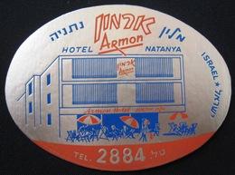 HOTEL MOTEL ARMON PALACE NETANYA HAIFA JERUSALEM VINTAGE OLD ISRAEL TAG STICKER DECAL LUGGAGE LABEL ETIQUETTE AUFKLEBER - Hotel Labels
