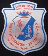 HOTEL MOTEL GALEI HASHARON NETANYA JERUSALEM VINTAGE OLD ISRAEL TAG STICKER DECAL LUGGAGE LABEL ETIQUETTE AUFKLEBER - Hotel Labels