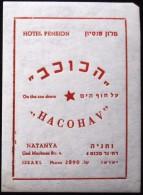 HOTEL MOTEL STAR KOCHAV NETANYA JERUSALEM VINTAGE OLD ISRAEL TAG STICKER DECAL LUGGAGE LABEL ETIQUETTE AUFKLEBER - Hotel Labels