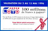 FDJ FRANCAISE DES JEUX PLV PUB 16X10cm SUPER LOTO 02 AU 15 MAI 1996 PAPIER GLACE PUBLICITE GRATTAGE TELEVISION FRANCE 2 - Advertising