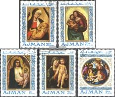 Ajman 327A-331A (completa Edizione) Usato 1968 Madonna Di Pittura - Emiratos Árabes Unidos