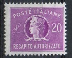 PIA - ITA - Specializzazione : 1956 : Francobollo Per Recapito Autorizzato £ 20 - (SAS 12/II  - CAR 7 ) - 6. 1946-.. Repubblica
