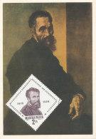 D24796 CARTE MAXIMUM CARD 1964 HUNGARY - SELF PORTRAIT MICHELANGELO CP ORIGINAL - Arts