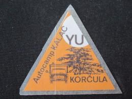 HOTEL CAMPING AUTOCAMP SPA PKALAC YU KORCULA CROATIA JUGOSLAVIA LUGGAGE LABEL ETIQUETTE AUFKLEBER DECAL STICKER - Hotel Labels