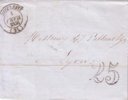 DROME - DIEULEFIT - T14 DU 1 FEVRIER 1854 - TAXE 25 DOUBLE TRAIT. - Marcophilie (Lettres)