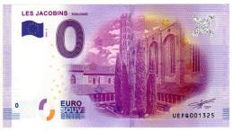 2016-2 BILLET TOURISTIQUE 0 EURO SOUVENIR N° 001325 LES JACOBINS TOULOUSE - EURO