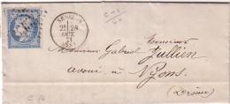 DROME - SEDERON - 28 OCTOBRE 1871 - CERES N°60 OBLITERATION GC3353 - GC INDICE 7 - COTE 30€ - Marcophilie (Lettres)