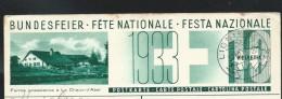 Illustré: Fête Nationale 1933 : N° 77/5 Ferme Jurassienne à La Chaux-d´Abel Obl: Lignières 30/08/1933 - Stamped Stationery