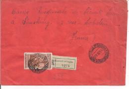 LAVORO L.100, S 565,ISOLATO PER ESTERO-FRANCIA,1954, POSTE MONTICELLI D'ONGINA,PIACENZA,MILANO POSTA AEREA,STRASBURGO - 1946-.. République