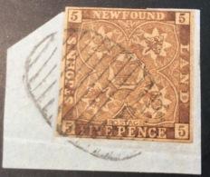 Terre-Neuve, Newfoundland (Canada) 1857 5 Pence RARE ENGRAVED ONEGLIA FORGERY On Piece. (Faux Falsch) - Newfoundland