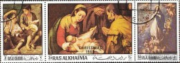 Ras Al Chaima 349A-351A Tre Strisce (completa Edizione) Usato 1970 Natale 1969 - Ra's Al-Chaima