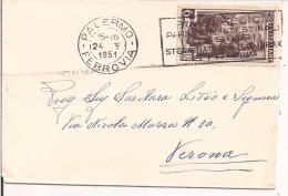 """LAVORO L.6 -IN TARIFFA BIGLIETTO VISITA,1951,TIMBRO POSTE PALERMO ,TARGHETTA""""IMBI FELICI,OSSIURI"""" - 1946-.. République"""